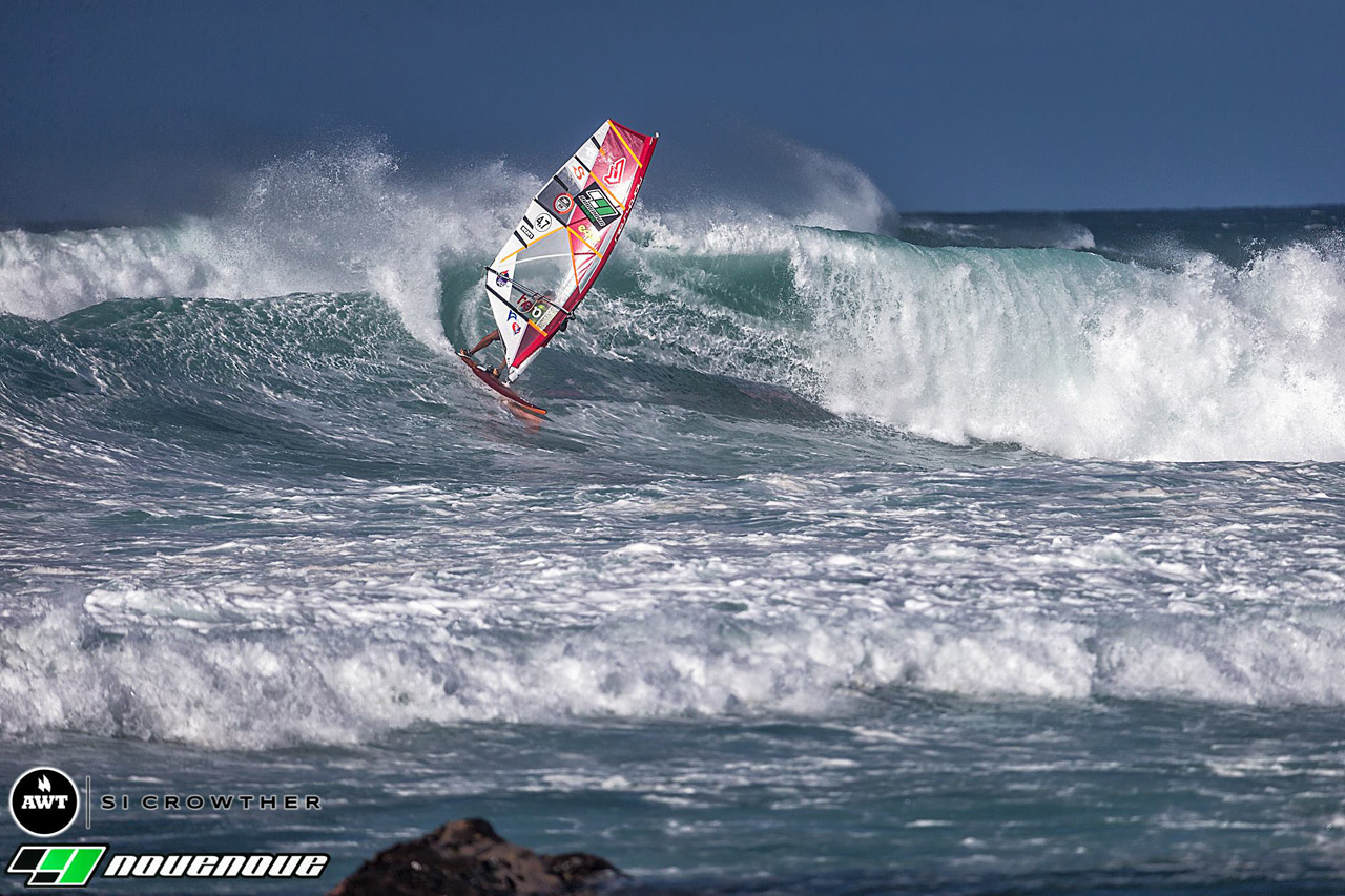 Powerful wave riding against powerful locals. Victor finished the 2016 NoveNove Aloha Classic in 21st position, what was his discard result (Pic: Crowther/AWT)
