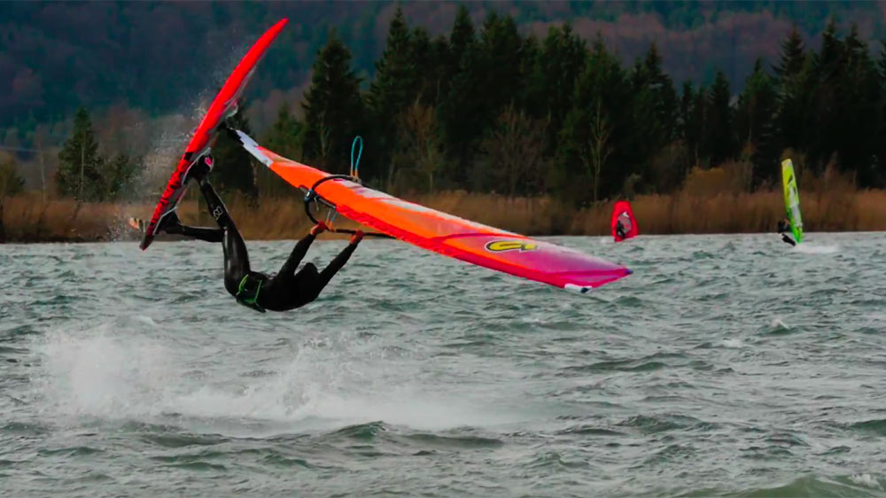 Picture of German windsurfer Andi Lachauer at Kochelsee