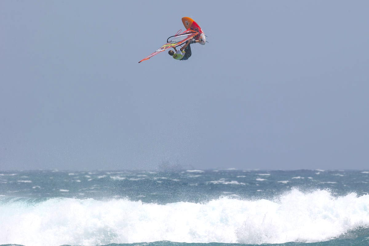 Back loop by Dieter van der Eyken in Tenerife - Pic: PWA/John Carter