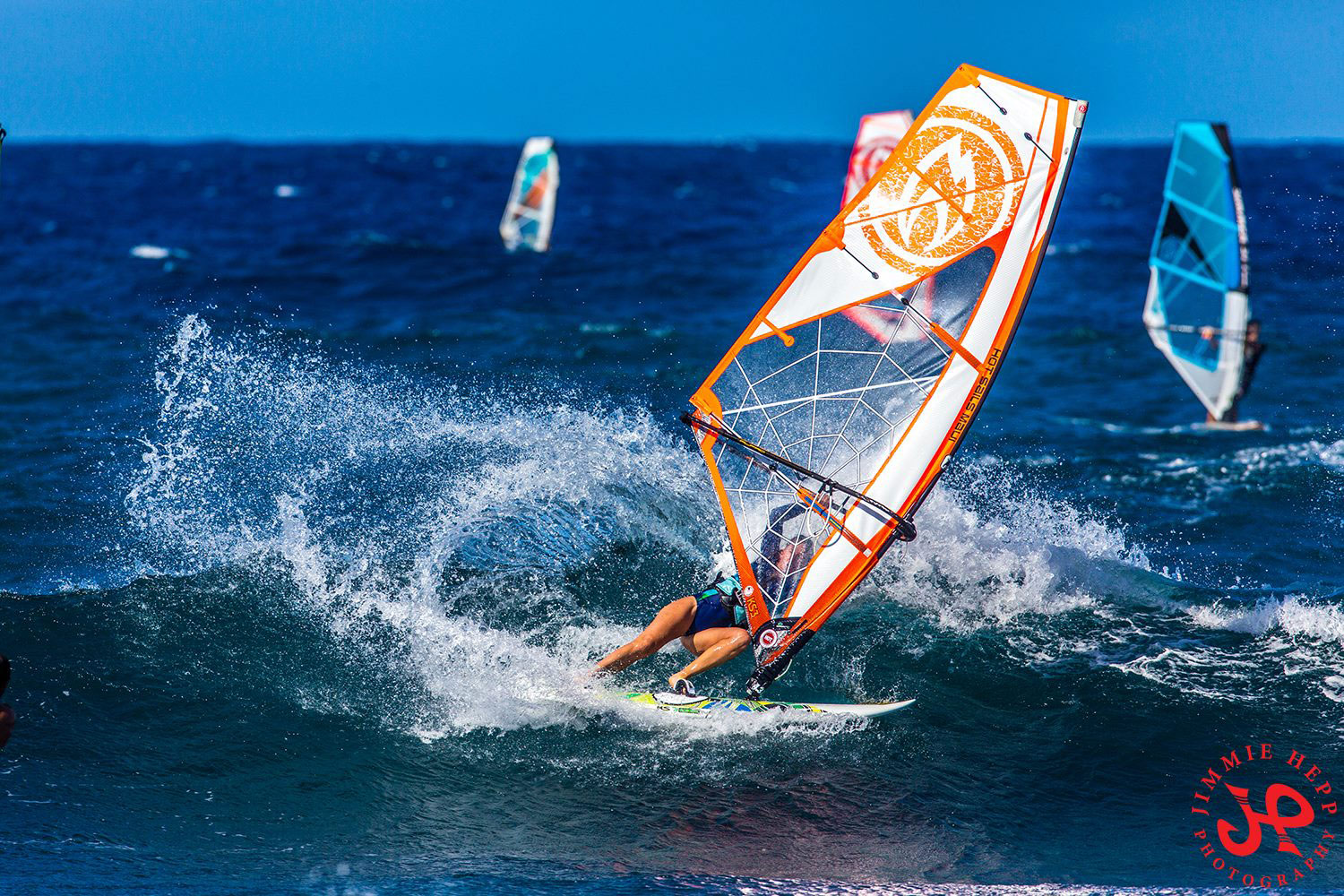 Amanda Beenen windsurfing on her Hot Sails Maui