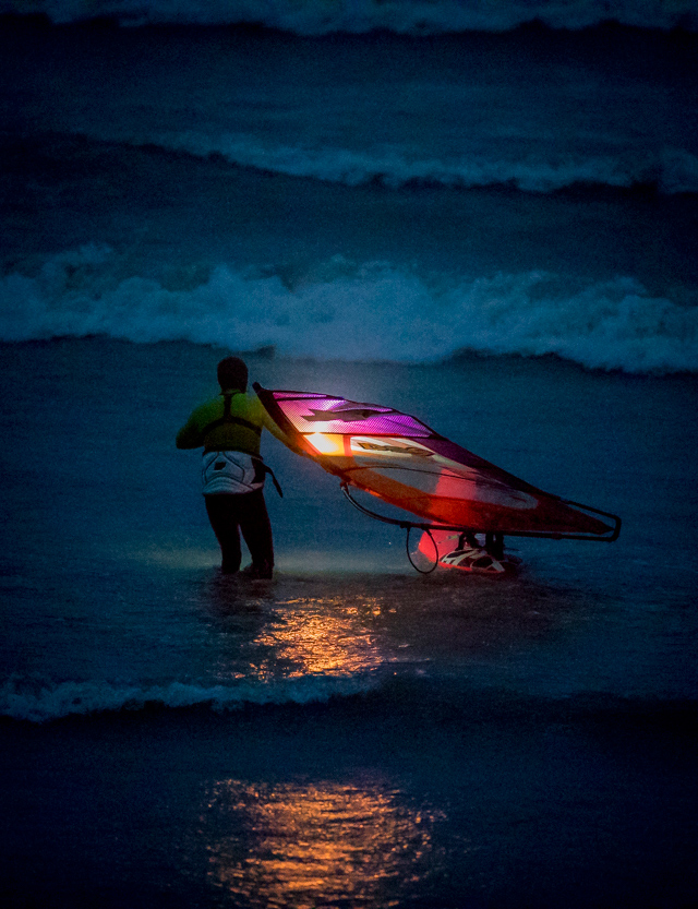 Lars Petersen walks in the freezing cold North Sea during night (Photo: Mark Wengler)