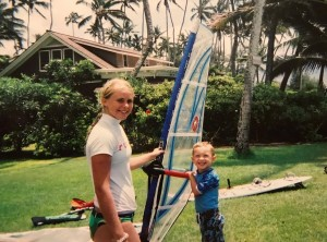 Dax in a windsurfing lesson at 3 years age
