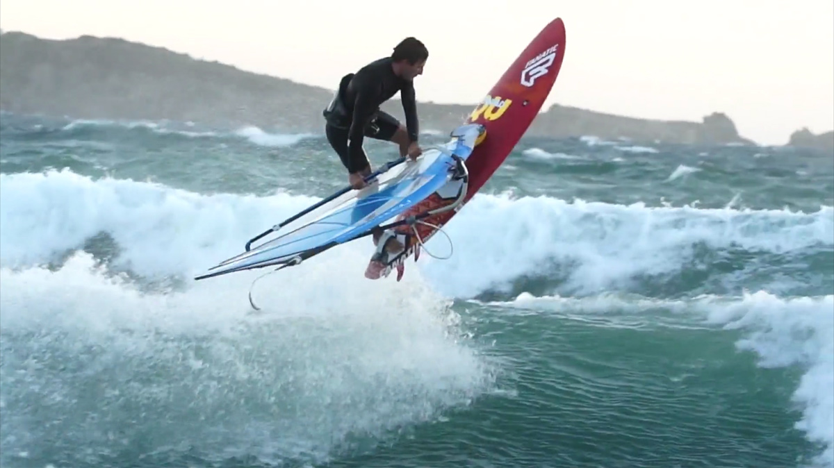 Adrien Bosson with freestyle action in onshore conditions
