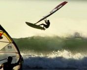 Wave windsurfing action from Galicia, La Lanzada