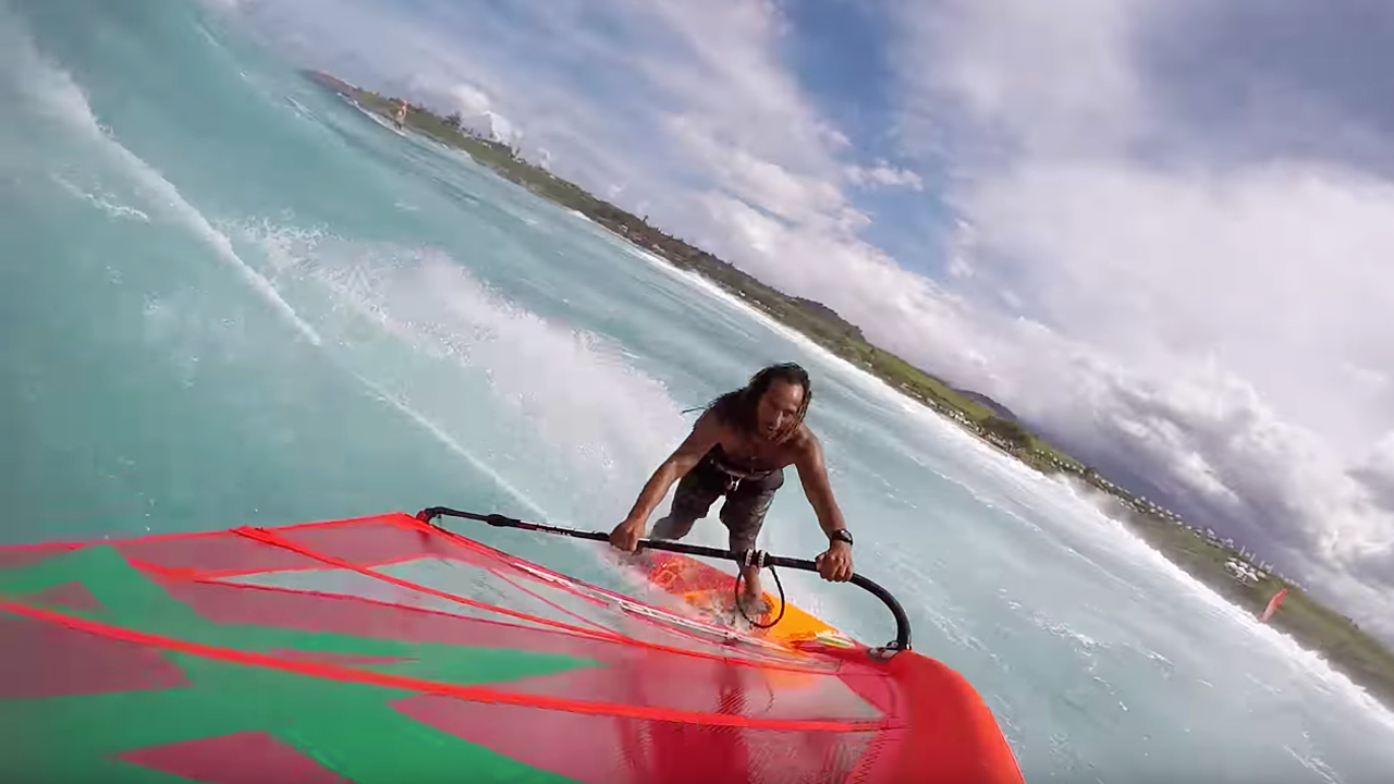 Boujmaa Guilloul rides a wave in Maui
