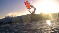 Klaas Voget windsurfs in clean waves in Chile