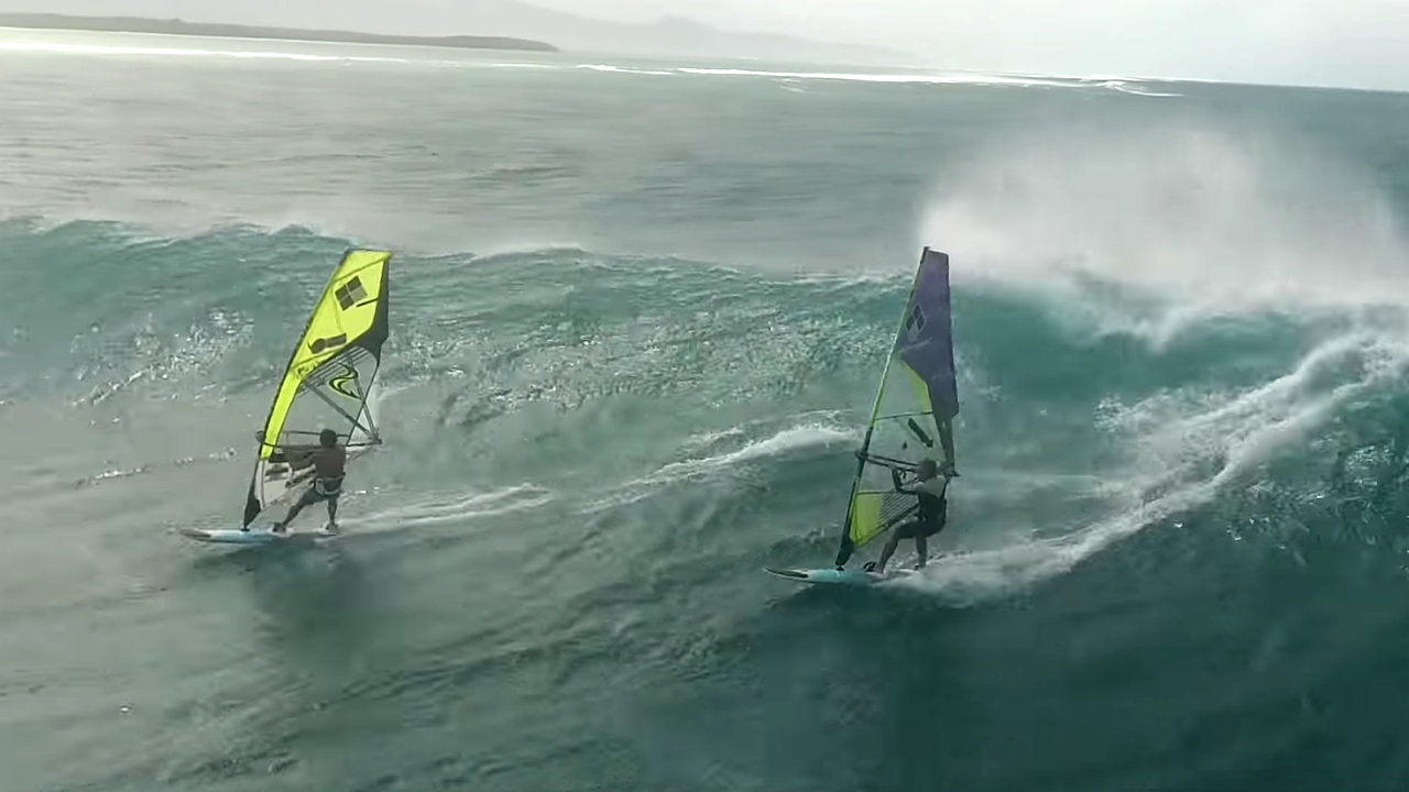 Camille & Tom Juban surf waves in Guadeloupe