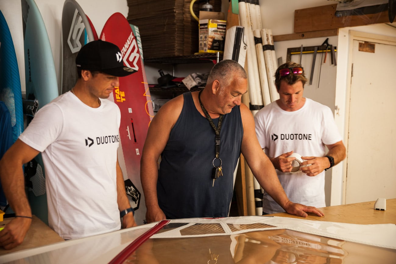 Kai Hopf worked close with his teamriders Victor Fernandez and Marco Lang in the loft in Maui
