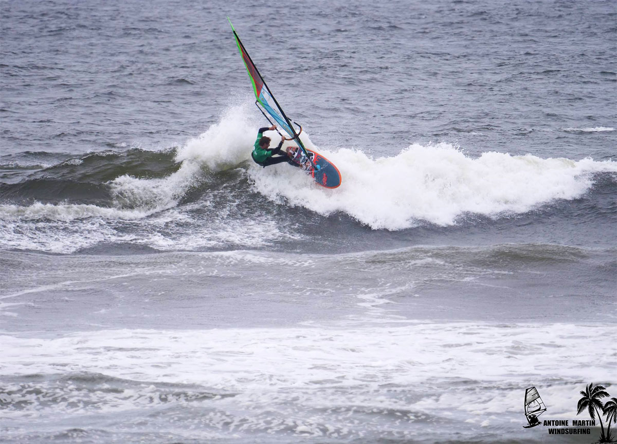 Morgan Noireaux is one of the four finalists in the pro men fleet at the Pistol River Wave Bash 2018