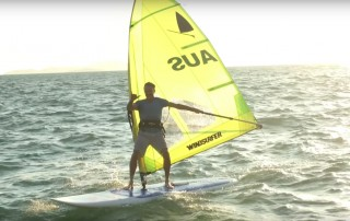 Svein Rasmussen tests his retro windsurfer