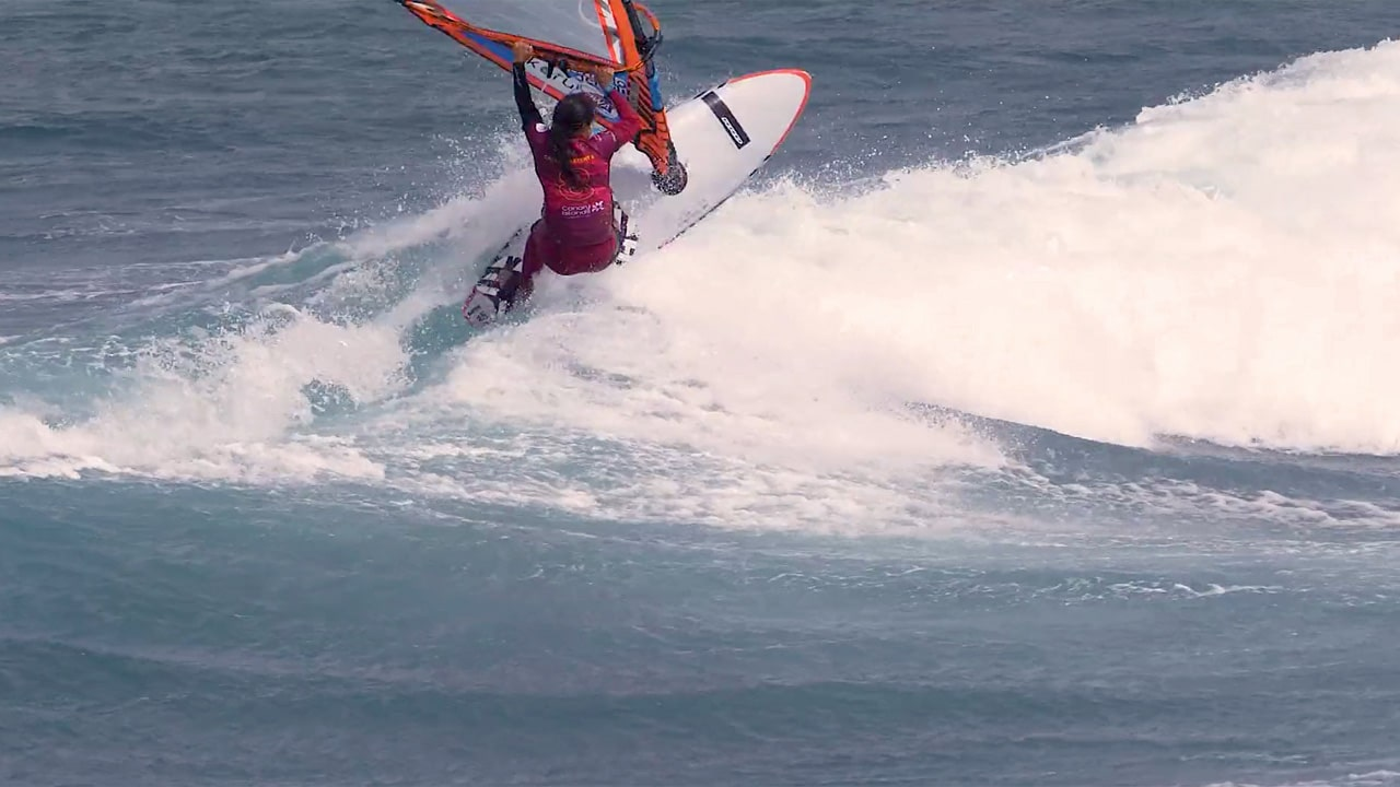Caterina Stenta in the waves in Tenerife in 2018