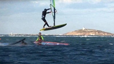 Stam Promponas goes big over the ramp in Naxos