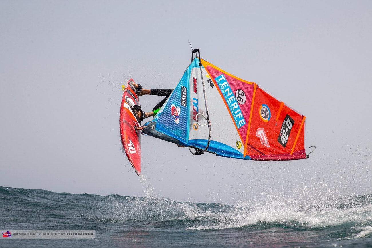 Tobias Bjorna rotates through Forward loop  (Photo: Carter/PWAworldtour)