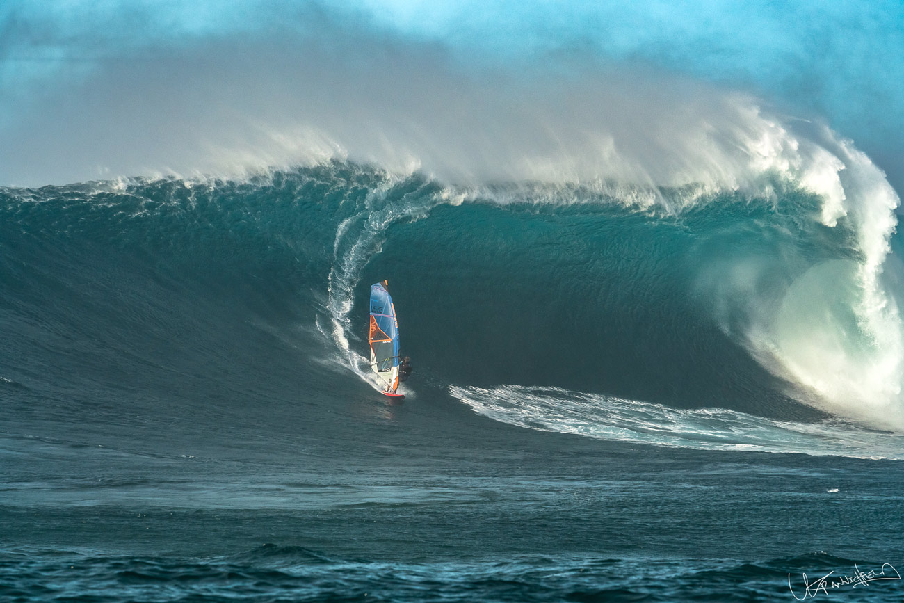 Kai Katchadourian rides almost in the barrel of Jaws (Photo: Lyle Krannichfeld)