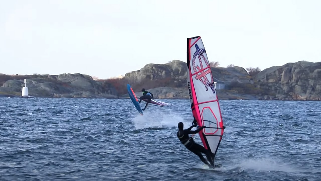 Erik shows Anton how to land an inverted Shaka on port tack