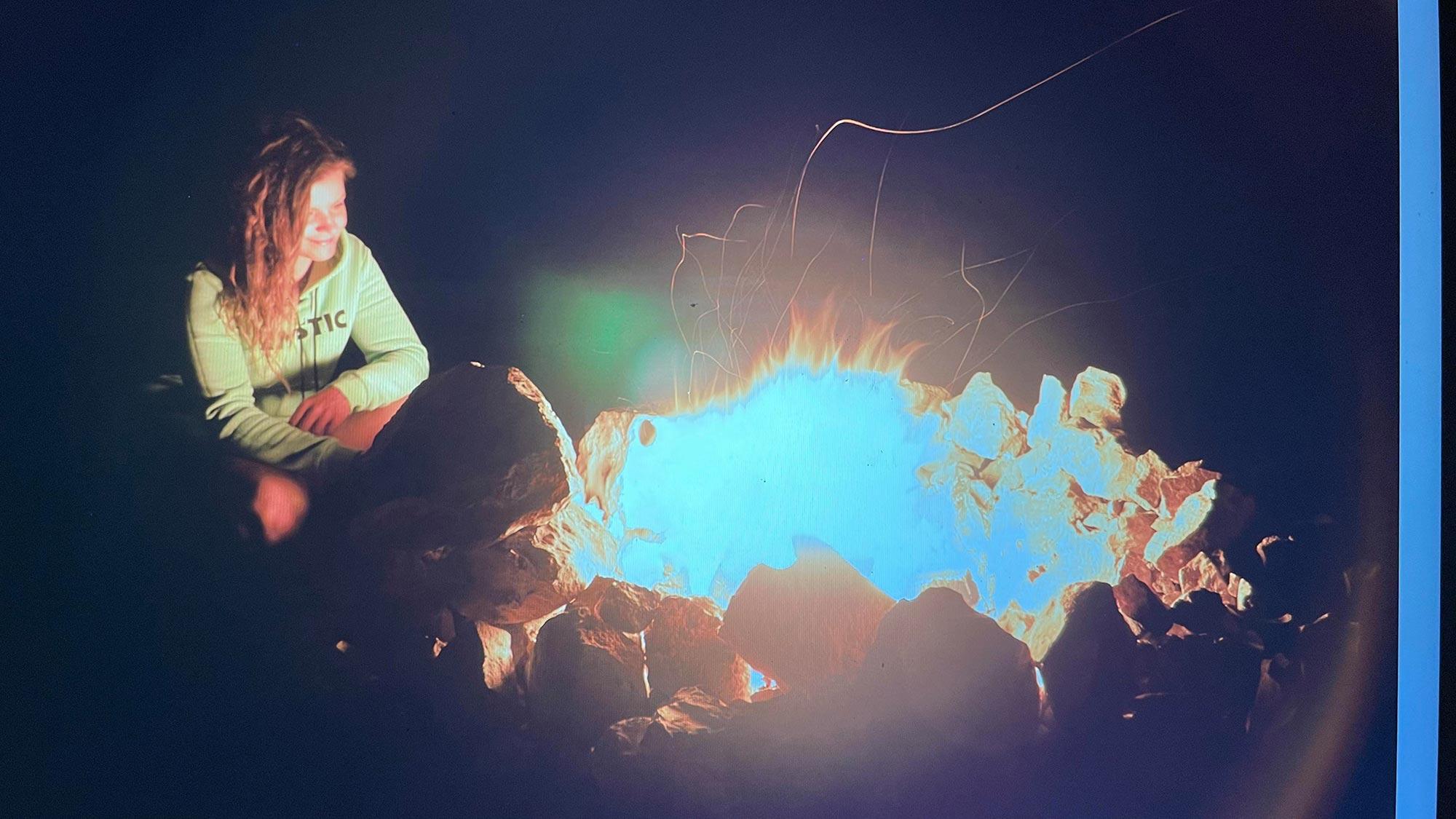 Cosy bonfire night for Justyna Sniady in Australia